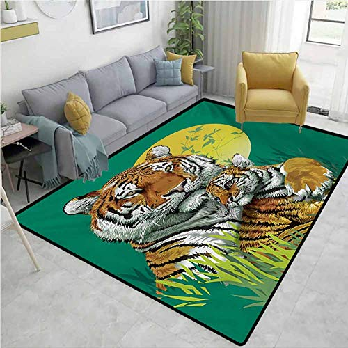 Safari Home Decor Area Rug Tiger Family in The Jungle Full Moonlight Night Grass Abstract Hard and wear Resistant W67 x L78 Jade Green Apricot Pale Green