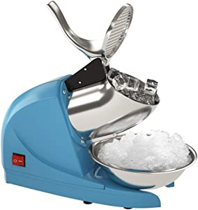 OKF Ice Shaver Electric Three Blades Snow Cone Maker Stainless Steel Shaved Ice Machine 220lbs/hr Home and Commercial Ice Crushers (Blue)