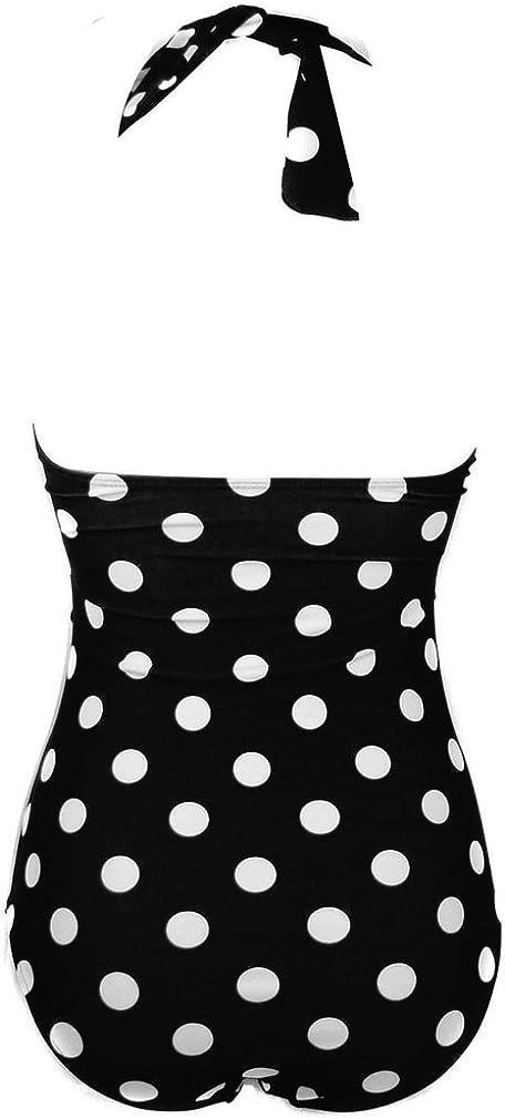bettydom Ladies One Piece Dot Swimsuit Retro Vintage Push Up Swimming Costume Halter Backless Swimwear M-4XL