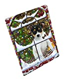 Please Come Home For Christmas Rat Terrier Dog Sitting In Window Art Portrait Print Woven Throw Sherpa Plush Fleece Blanket D120 (50x60 Plush)