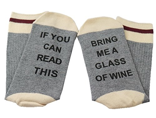 Easyhon Christmas Unisex wine full Xmas If You can read this Socks (One Size, Dark Gray-1)