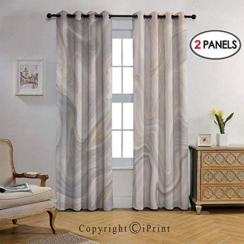 Blackout Bedroom Curtain Thermal Insulated Energy Efficient Home Decoration Color Splash Paintbrush Technique Stylish Vintage Design for Living Room 2 Panels, 38 by 96 Inch,Light Grey Sand Brown