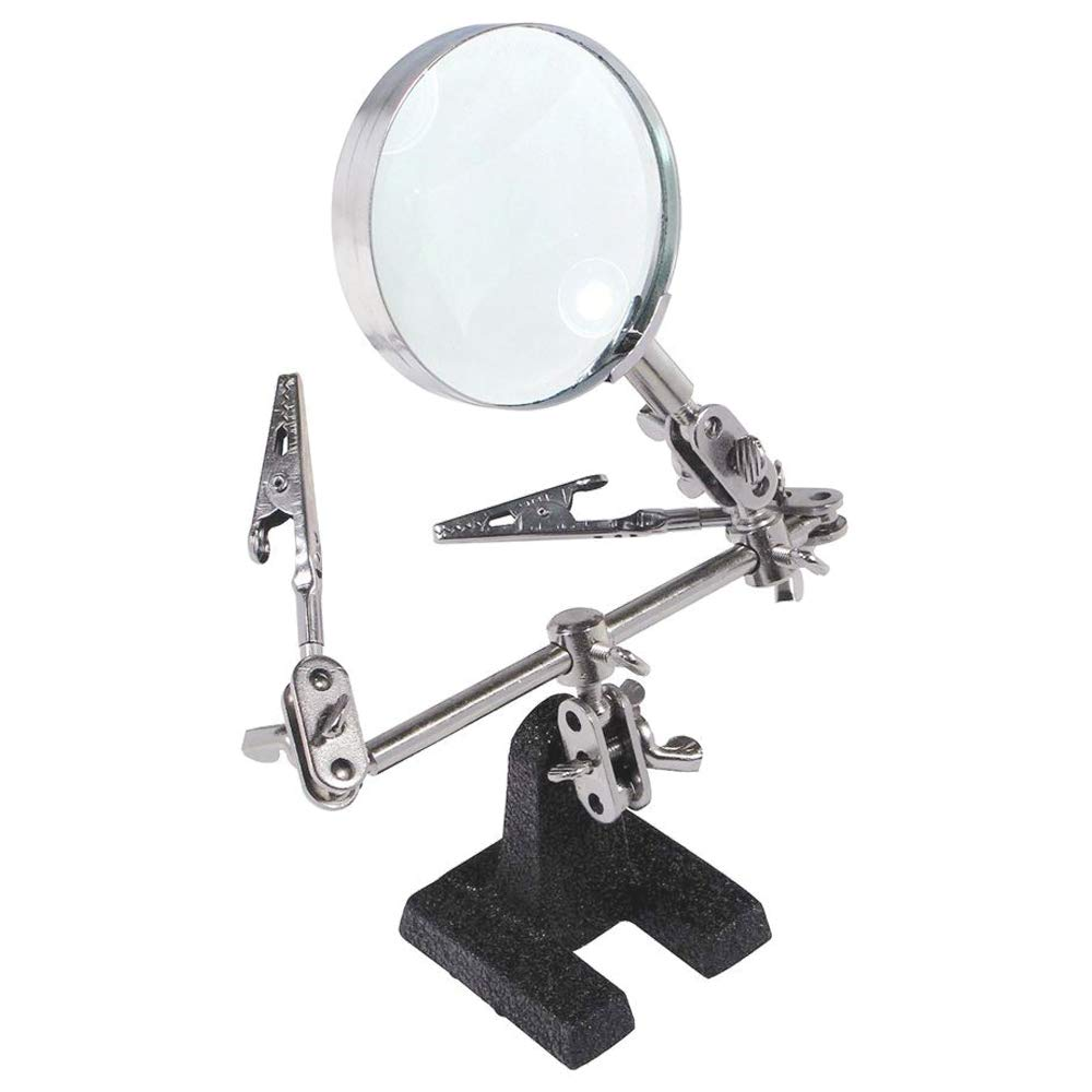 Magnifier  Easycarrying Helping Third Hand Tool Soldering Stand,with 5X Magnifying Glass ,2 Alligator Clips 360 Degree redating Adjustable