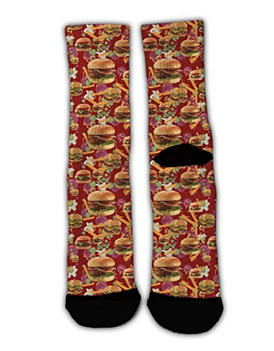 MrDecor Youth Boys Crazy Funny Hamburgers French Fries Crew Socks Cute Novelty Cotton Socks -