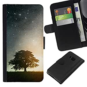 // PHONE CASE GIFT // Moda Estuche Funda de Cuero Billetera Tarjeta de crédito dinero bolsa Cubierta de proteccion Caso HTC One M7 / BEAUTIFUL STARRY NIGHT STARS & TREE /