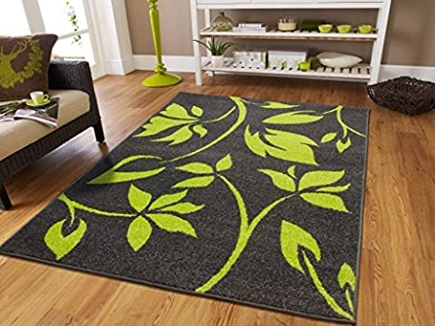Luxury New Fashion Large 8x11 Rugs For Living Room 8x10 Green Flowers Leaves Rug Art Contemporary Rug For Living Room with Gray Background Area Rugs Clearance, Large (Flower Living Room Rug)