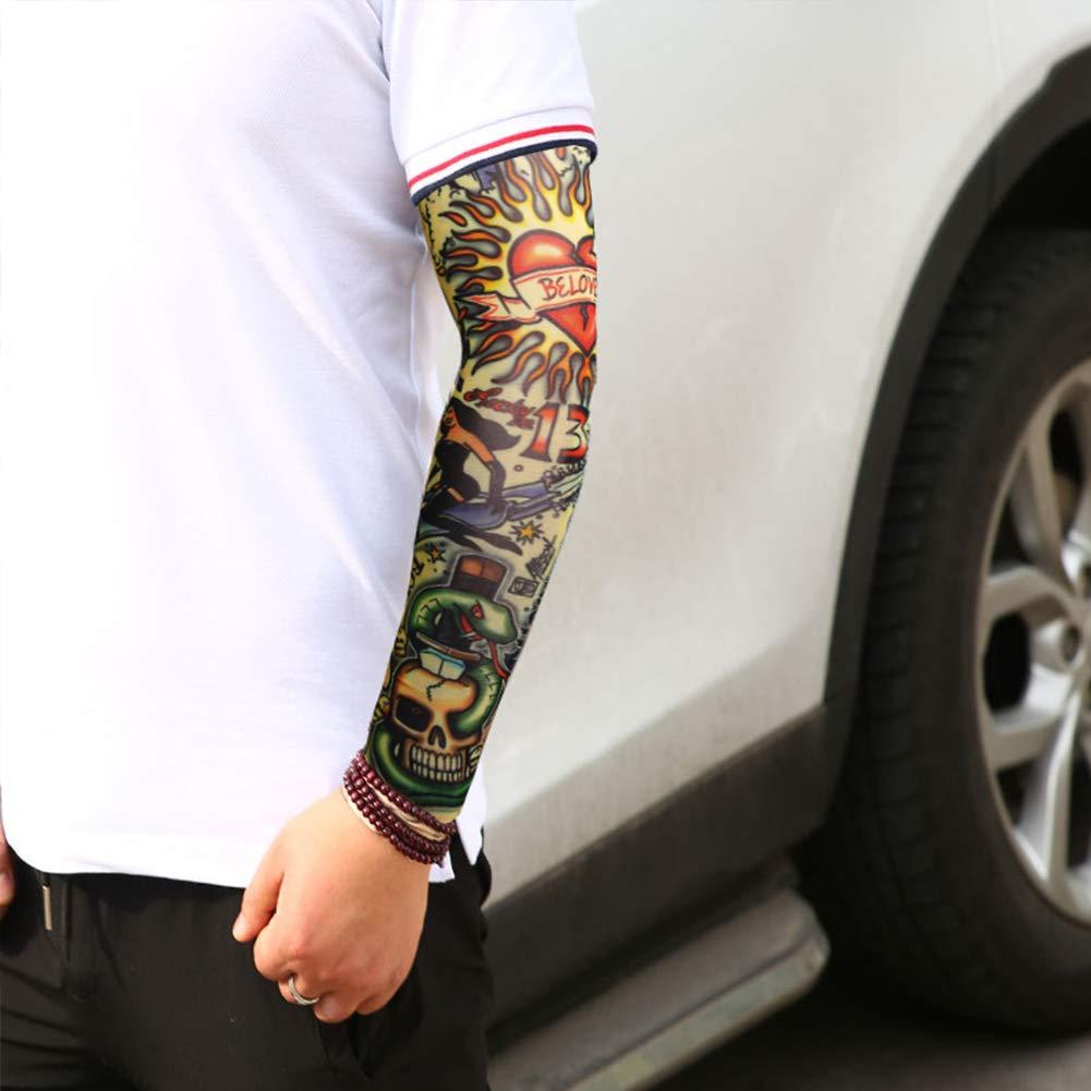 Mangas Tatuajes, Yuccer 6 PCS Tatuaje Temporal Brazo Medias Mangas para Brazos Manguito Ciclismo Nylon (Vistoso): Amazon.es: Belleza