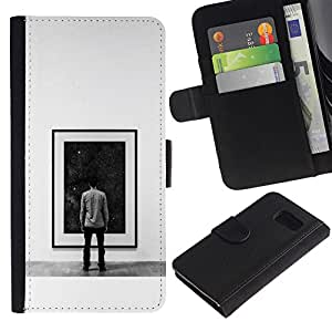 YiPhone /// Tirón de la caja Cartera de cuero con ranuras para tarjetas - Pintura Espacio Profundo - Sony Xperia Z3 Compact