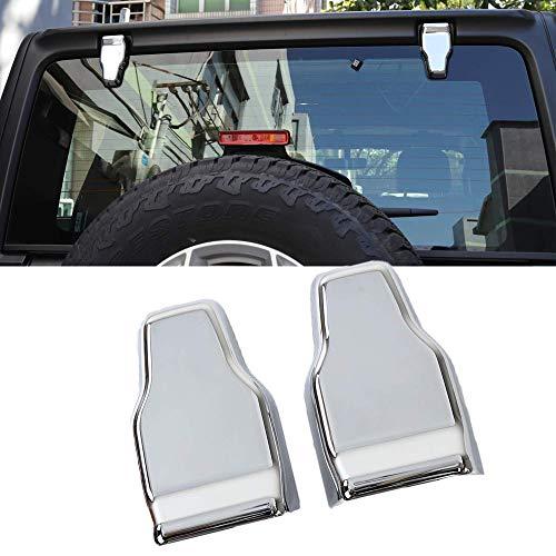 Car Rear Window Liftgate Glass Hinge Cover Trims Sticker Interior Accessories for Jeep Wrangler JL 2018 (Chrome)