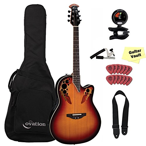 Guitar Burst England - Ovation Standard Balladeer Deep Contour Cutaway Acoustic Electric Guitar Bundle 2778AX-NEB New England Burst