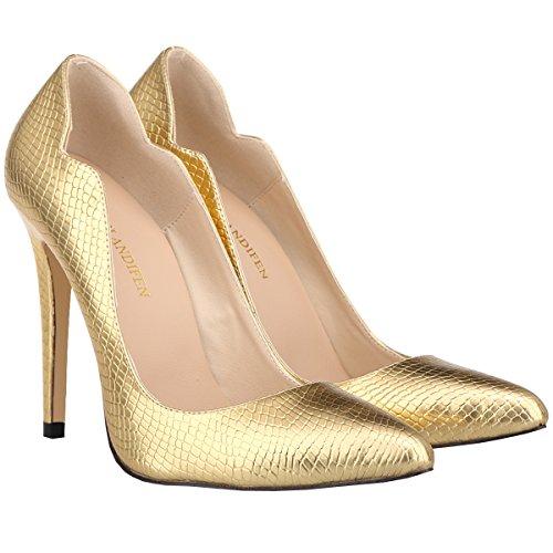 Kengät Korkokengät Stiletto Tyylikäs Naisten Kultaa Krokotiili Pumput Luistaa Työtä Viljan Loslandifen CznSqw08x8