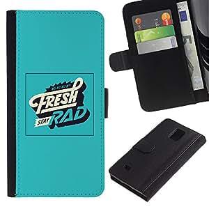 All Phone Most Case / Oferta Especial Cáscara Funda de cuero Monedero Cubierta de proteccion Caso / Wallet Case for Samsung Galaxy Note 4 IV // Fresh Rad Green Retro Vintage Poster