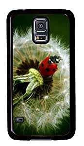 Diy Fashion Case for Samsung Galaxy S5,Black Plastic Case Shell for Samsung Galaxy S5 i9600 with Ladybird On A Dandelion