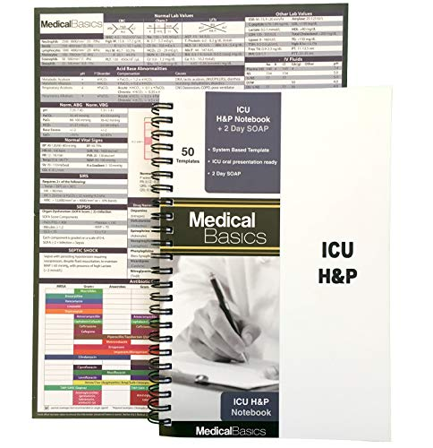 - ICU H&P Notebook with 2 Day SOAP - Medical History and Physical Notebook, 50 Medical templates with Perforations