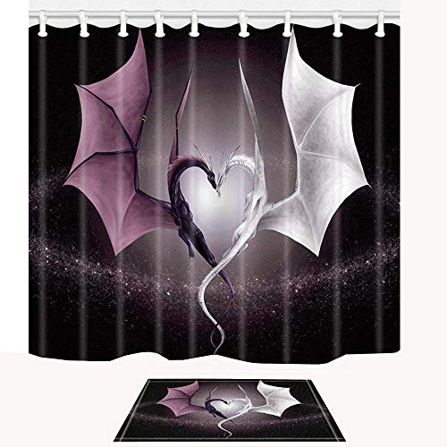ChuaMi Animal Shower Curtain Dragon Set, Purple White Heart-Shaped Western Myth Century, Waterproof Bathroom Decor Design Polyester Fabric 69 x 70 Inches with Hooks and Anti-Slip 40 x 60cm Bath Mat (Hearts Shower Curtain Set)