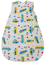 Baby Sleeping Bag with Surfer Pattern, Summer Model 1 TOG (Small (3 - 11 mos))