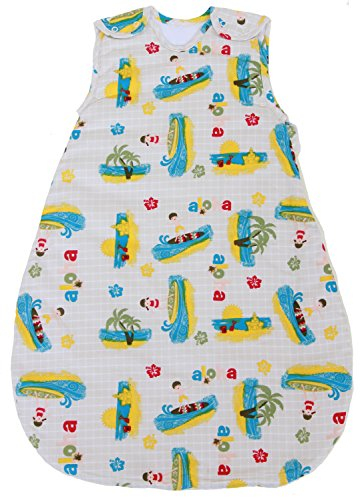 Baby Sleeping Bag with Surfer Pattern, Quilted Winter Model 2.5 TOG (Medium (10-24 mos)) ()