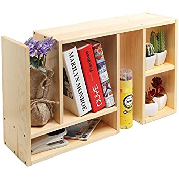 ac bamboo storage dp amazon rack com drawers bookcase nature display organizer adjustable bookcases desktop shelf