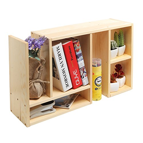 Beige Wood Adjustable Desktop Organizer / Book Shelf / Supply Storage Rack