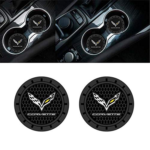 Auto sport 2.75 Inch Diameter Oval Tough Car Logo Vehicle Travel Auto Cup Holder Insert Coaster Can 2 Pcs Pack fit Corvette Accessory