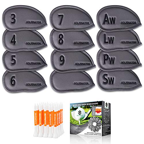 Golfinator PU Leather Golf Iron Head Covers - 12 Pcs Set 25 Tees - Headcovers Have Numbers on Both Sides - Ebook : 30 Drills That Will Improve Your Game (Gray)