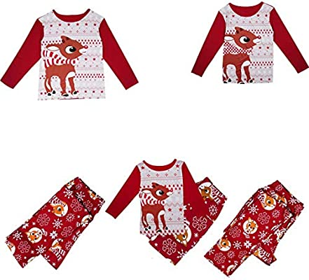 Parent-child Bear Christmas Family Pajamas Set Xmas Adult Sleepwear Nightwear