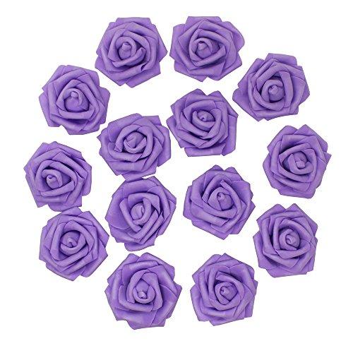 Florist Purple Rose (7cm DIY Real Touch 3D Artificial Floral Foam Roses Head Without Stem for Wedding Party Home Decoration-50pcs (Purple))