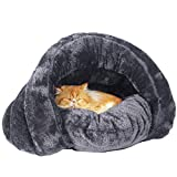 Plush Cat Sleep Bag Zone Pet Cave Bed Cozy Cuddle Pouch Pet Bed Covered Hooded Pet Cave for Cat and Puppies (Grey)
