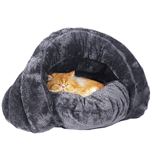 Plush Cat Sleep Bag Zone Pet Cave Bed Cozy Cuddle Pouch Pet Bed Covered Hooded Pet Cave for Cat and Puppies (Covered Cat)