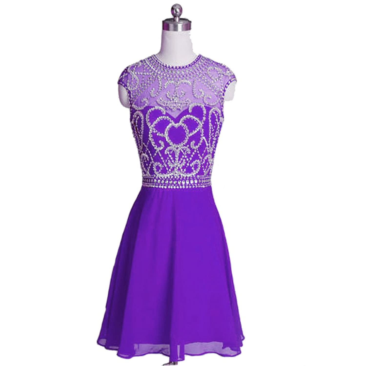 Uryouthstyle Beaded Cap Sleeve Prom Dresses Short Chiffon Party Gowns
