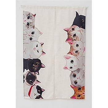 This Item KARUILU Home Japanese Noren Doorway Curtain Tapestry Cat Story  (Cat Family)