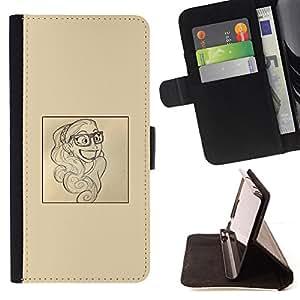 Jordan Colourful Shop - Smart Smile Poster Paper Artist Sketch For Apple Iphone 6 - Leather Case Absorci???¡¯???€????€????????