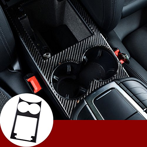 HOTRIMWORLD Carbon Fiber Center Console Water Cup Holder Frame Trim Cover 1pcs for Porsche Macan 2014-2018