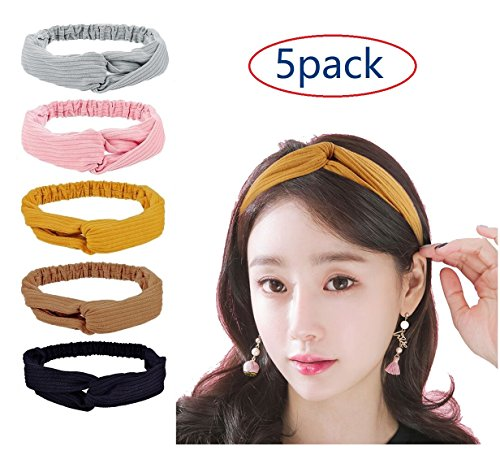 Wrap Accessory Hair (Women Headbands Elastic Turban Head wraps, 5 Pack Fashion Hair Band Accessories for Women and Girls - Perfect for Yoga or Fashion, Running, Workout or Travel.)
