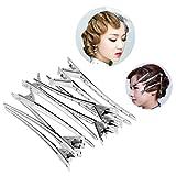 Fheaven 12PC Set Clip Handle Salon Invisible Hair Clip Duck Hair Clips Alloy Gift