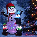 6 Foot Christmas Inflatables Snowman with Penguins, Airblown Inflatable Snowman with Red Hat/Branch Hands/Scarf, Lighted for Home Outdoor Yard Lawn Decorations