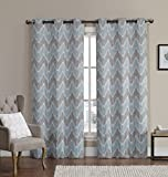 Set of 2 Panels 76''Wx84''L -Royal Tradition - Marlie - Spa Blue - Woven Jacquard Insulated Blackout Curtain, 38-Inch by 84-Inch each Panel. Package contains set of 2 panels 84 inch long.