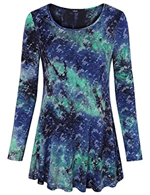 Laksmi Womens Tie Dye Shirts Long Sleeve Flare Hem Comfy Loose Casual Tunic Tops
