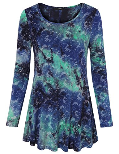 Laksmi Casual Wear For Women, Long Sleeve Blouse Shirt Round Neck Loose Fit Tunic Tops,Blue Green Large