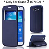 Arbalest® for Samsung Galaxy Grand 2 G7102 Brushed Texture PU Leather Flip Cover Case with Window View - DarkBlue ,Arbalest Retail Packing