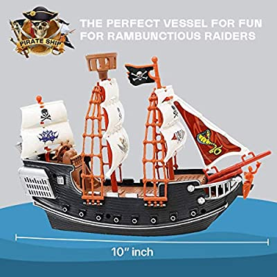 Kicko Pirate Ship Toy for Gifts, Decor, Imaginary Play, and Prizes - 10 Inches, 1 Pack: Toys & Games