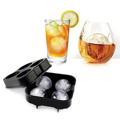 JD Million shop 1pc Whiskey Cocktail Ice Cube Ball 4 Large Sphere Mold Silicone Ice Ball Maker Large Ice Ball Cube Ice Mold Maker 12 x 12 x 5cm