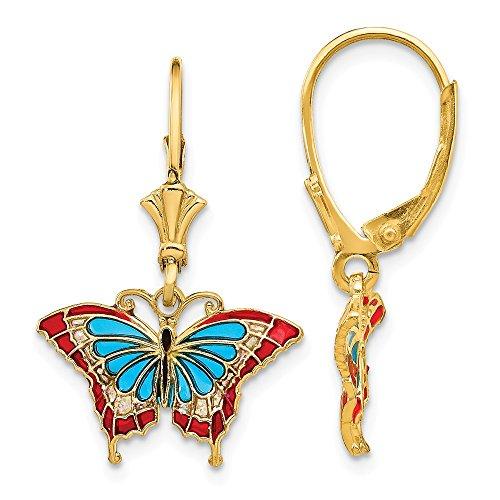 Jewelry Themed Earrings 14k Butterfly with Blue Stained Glass Leverback Earrings
