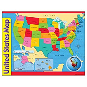 Amazoncom Trend Enterprises United States Maplearning Chart T - Pictures of the united states map