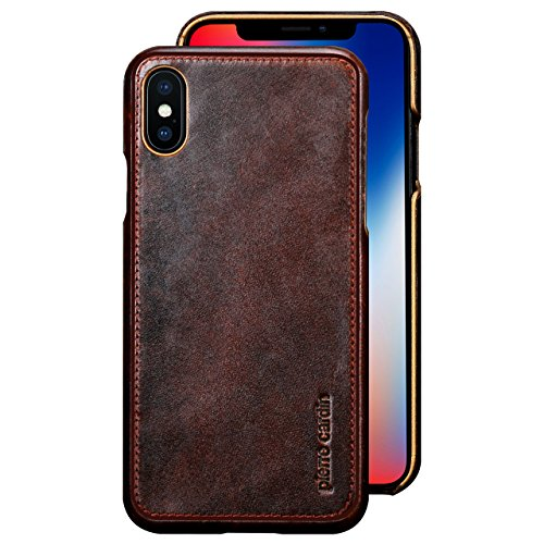 iPhone X Case , Pierre Cardin Premium Genuine Cow Leather with New Slim Design Hard Case Cover Fit for Apple iPhone X (Dark Brown) - Original Premium Leather Case