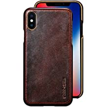 iPhone X Case , Pierre Cardin Premium Genuine Cow Leather with New Slim Design Hard Case Cover Fit for Apple iPhone X (Dark Brown)