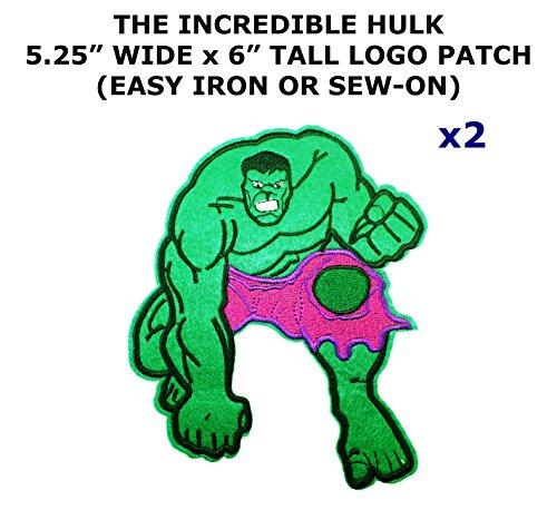 2 PCS Marvel Comics The Incredible Hulk Theme DIY Iron / Sew-on Decorative Applique (Diy Incredibles Costume)
