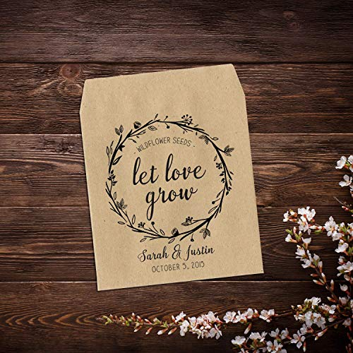 Let Love Grow, Personalized Wedding Favor, Wildflower Seed Packets, Wedding Seed Packets, Seed Packet Favor, Custom Seed Packets, Seed Packets, Floral Wedding Favor, Wildflower Favor x ()