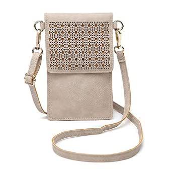seOSTO Women's Crossbody Bag Cell Phone Purse Wallet (Beige)