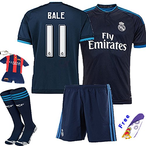 2930a063f Barcelona Kids Jersey 2015 2016  11 Bale Away Blue Soccer Kit Real Madrid  football Jersey   Shorts   Socks   key chain kids boys youth (11-12 years )  - Buy ...